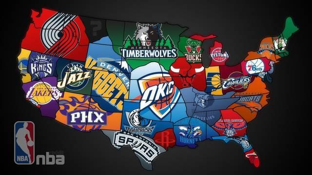 Команды НБА на карте США